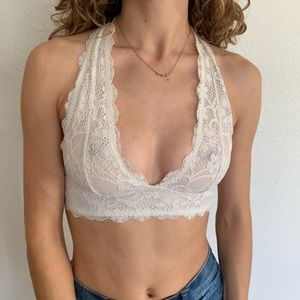 Free People halter neck bralette in white lace